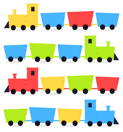 Cute colorful vehicles set cartoon Illustration Vector
