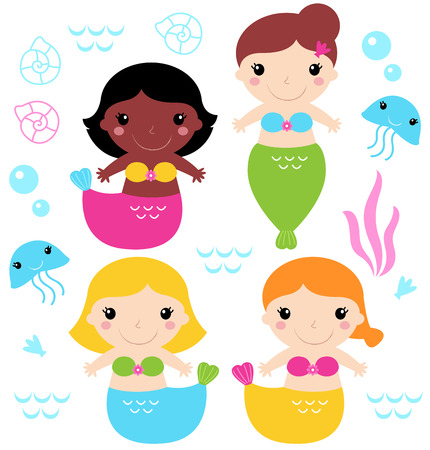 Cute colorful Mermaids with little sea creatures Vector