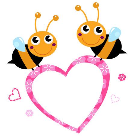 Adorable love Bees with Heart Illustration Ilustração