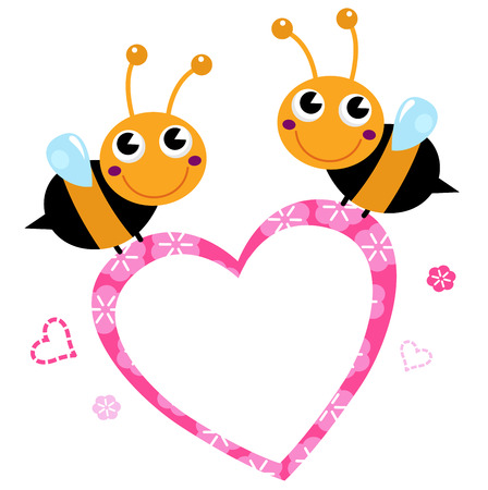 Adorable love Bees with Heart Illustration Illustration