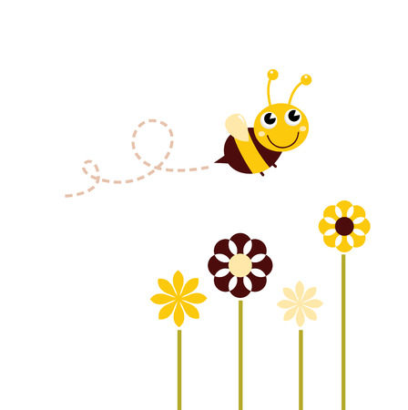 Adorable spring Bee flying around flowers Vector