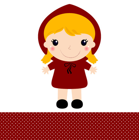 Red riding hood in kawaii style Illustration Vector