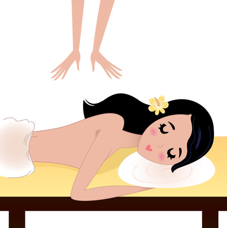 Lying Girl enjoying massage Vector