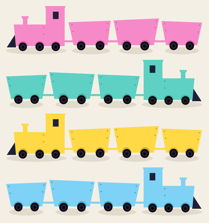 Colorful cartoon vehicles set Illustration Vector