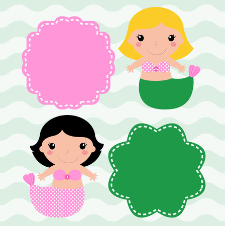 Cute Mermaids with banners pink and green Vector