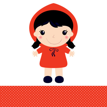 cartoon little red riding hood: Red Riding Hood in Kawaii style Illustration