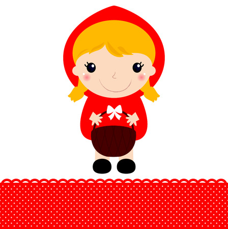 Cute beautiful Red riding hood with basket  Vector Illustration