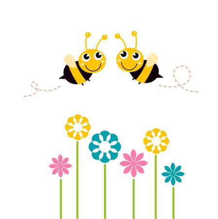 사랑스러운 꿀벌은 꽃의 벡터 만화 일러스트 레이 션 주위를 비행 일러스트