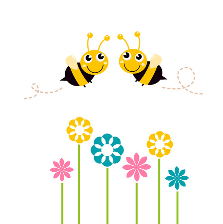 Lovely Bees flying around flowers Vector cartoon Illustration