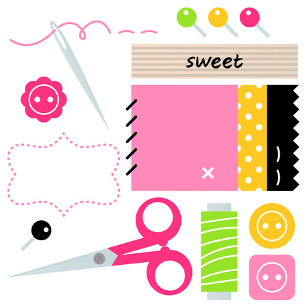 Sewing set with scissors, buttons, pins and spool of thread  Vector Illustration