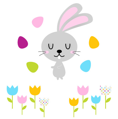 Beautiful adorable Easter bunny set  Vector Illustration Vector