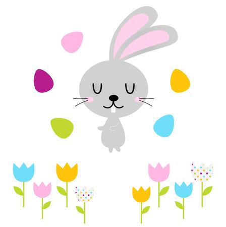 Beautiful adorable Easter bunny set  Vector Illustration