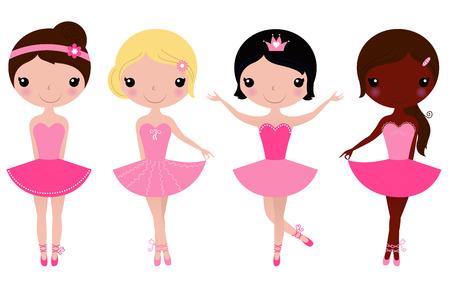 Happy multicultural ballerinas  Vector cartoon Illustration Vectores