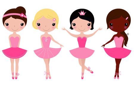 tanzen: Gl�ckliche multikulturellen Ballerinas Vector Cartoon Illustration