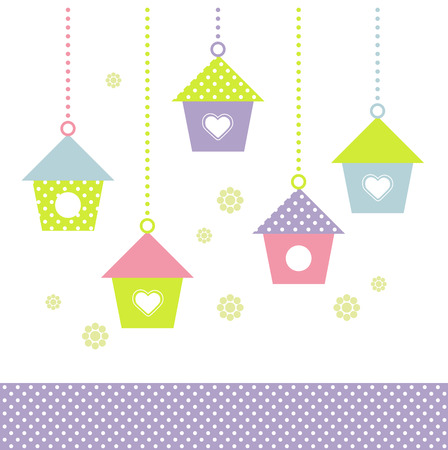 Spring Bird houses in pastel colors  Vector Illustration