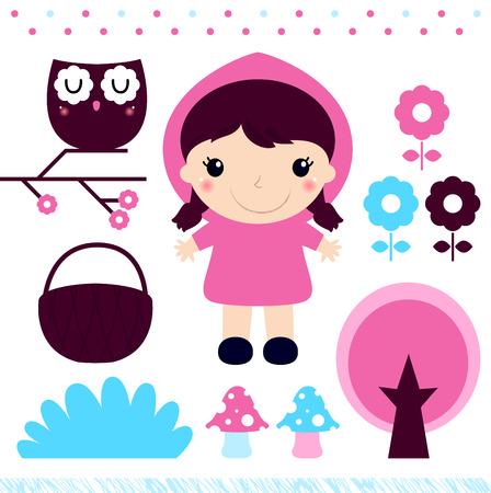 Little Red Riding Hood Fairytale design set  Vector Illustration Ilustração