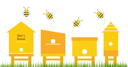 Cute simple Bee houses with bees  Vector Illustration Vector