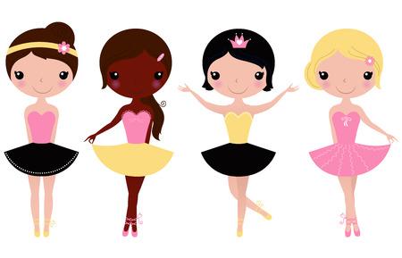 Ballerines multiculturelles heureux Vector cartoon Illustration Illustration
