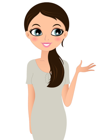 mujeres trabajando: Hermosa mujer de negocios aislados en blanco Ilustraci�n vectorial
