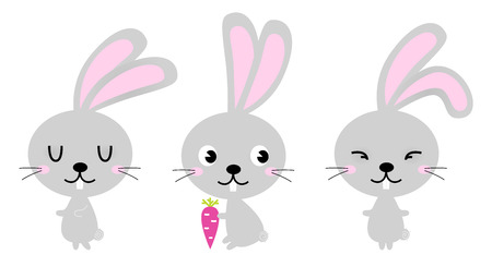 Group of Easter Bunnies in various poses  Vector Illustration Illustration
