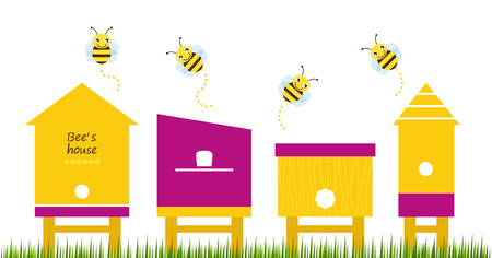 Cute simple Bee houses with bees   Vector