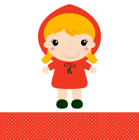 Red riding hood girl in kawaii style