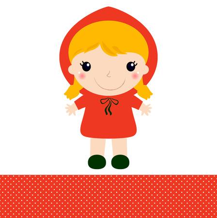 cartoon little red riding hood: Red riding hood girl in kawaii style