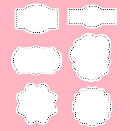 Romance white labels on pink background Stock Illustratie