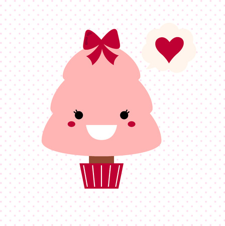 Stylized love kawaii tree - pink and red   Vector