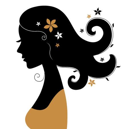 Vintage woman silhouette   Vector