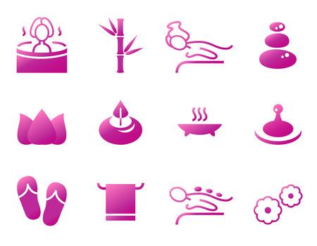 Set of beautiful wellness, spa, sauna and massage  Ilustração