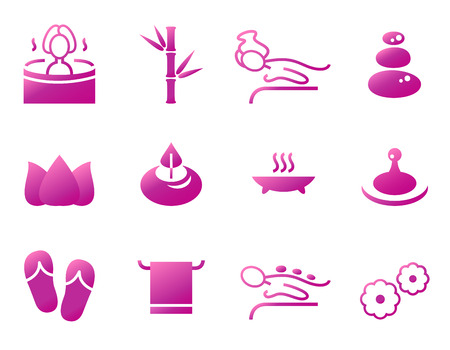 Set of beautiful wellness, spa, sauna and massage  Illustration