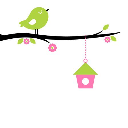 ¡rboles con pajaros: Ilustración hermosa primavera de dibujos animados lindo del vector del pájaro Vectores