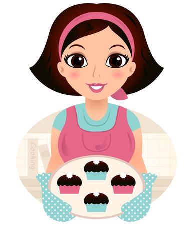 クッキーのベクトルの漫画イラストを保持している調理の母