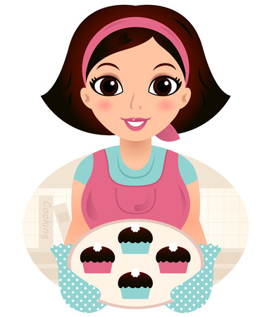 Cooking Mother holding cookies  Vector cartoon Illustration Çizim