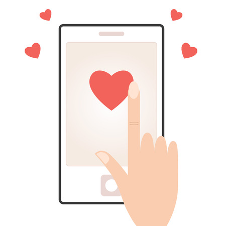 instant message: Smart phone with love message for valentines day  Vector Illustration
