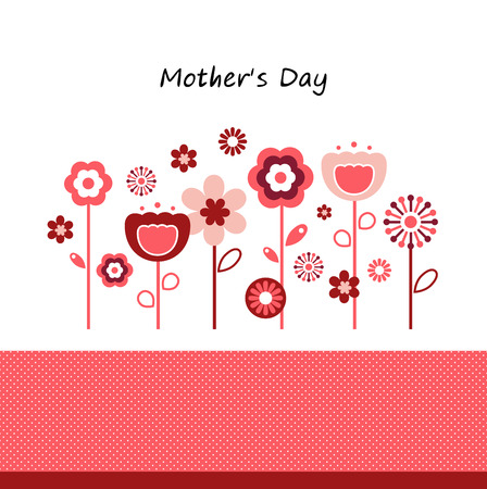 Beautiful greeting with flowers  Vector Illustration