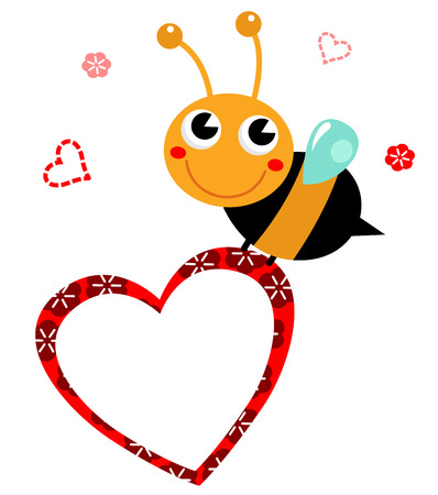 Adorable cartoon Bee holding heart  Vector Illustration in retro style Vector