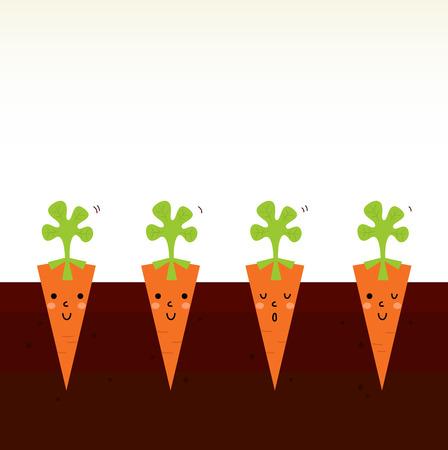 Sweet Carrots growing in dark soil  Vector Illustration