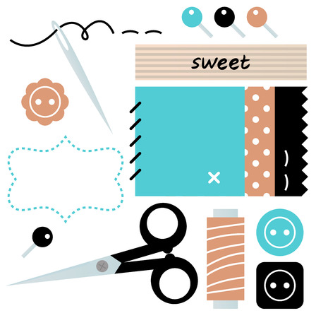 Sewing set with scissors, buttons, and pins in retro style  Vector Vector