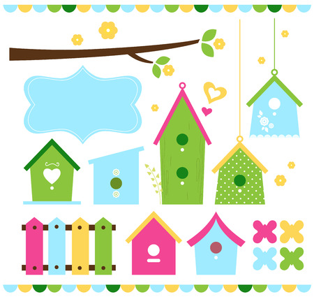Beautiful colorful spring bird houses  Vector Illustration