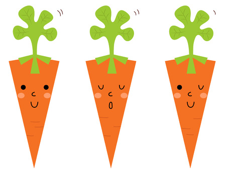 carotene: Cute Carrot cartoon collection  Vector Illustration