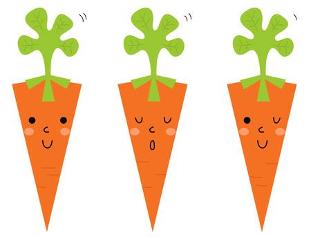 Cute Carrot cartoon collection  Vector Illustration