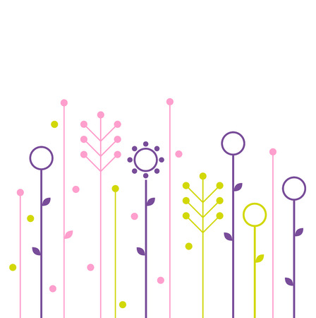Beautiful colorful flowers  Vector Illustration