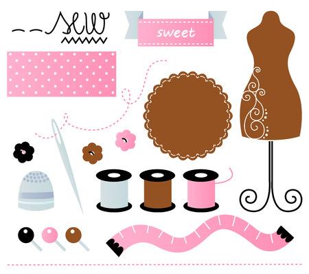 trabajo manual: Hermoso conjunto de costura lindo. Ilustración vectorial de dibujos animados