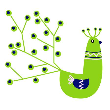 Vibrant Peacock character. Vector cartoon Illustration