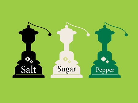Beautiful colorful Salt, Sugar and Pepper set. Vector Illustration in cartoon style