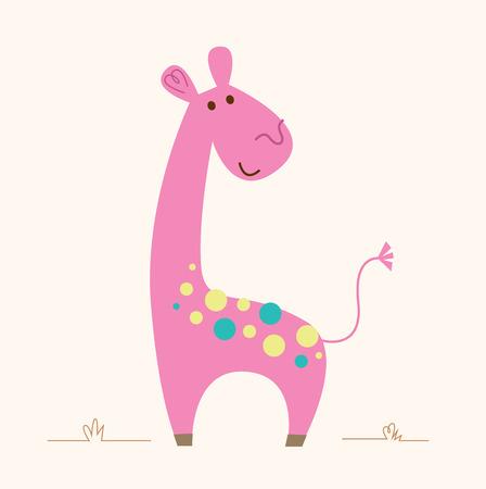 painting art: Cute colorful Giraffe - vector cartoon Illustration