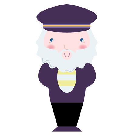 Old Sailor - stylized vector Illustration for Kids