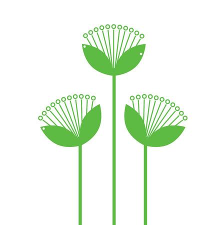Beautiful simple Flowers line art isolated on white. Vector Illustration Ilustração